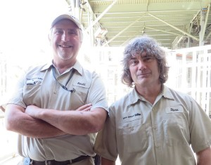 Ron Ringer, Lead Elephant Keeper (left), and Steve Herbert, Senior Elephant Keeper (right), work together in the Elephant Odyssey exhibit at the San Diego Zoo. They make sure the elephants have a clean exhibit, plenty of food, and lots of love!