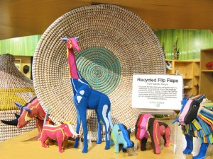 These colorful critters are made from upcycled flip flops!
