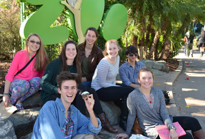 On the first day of our adventure, we started off celebrating Brianna's birthday with cupcakes and brownies. We were all really excited to begin our internship and learn from the Zoo's experts and meet unique animals that are home to the Zoo. From left to right: Celine, Lucas, Claudia, Brianna, Julianna, Devin, and Emily.