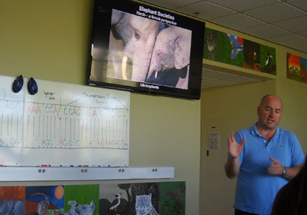 Matt Anderson, Director of Behavioral Ecology, works with animal hormones to try and figure out how they influence an animal's behavior, with the end result of boosting breeding success by stimulating those actions. He does a lot of research on animal sensory behavior, particularly sound and smell, to find o