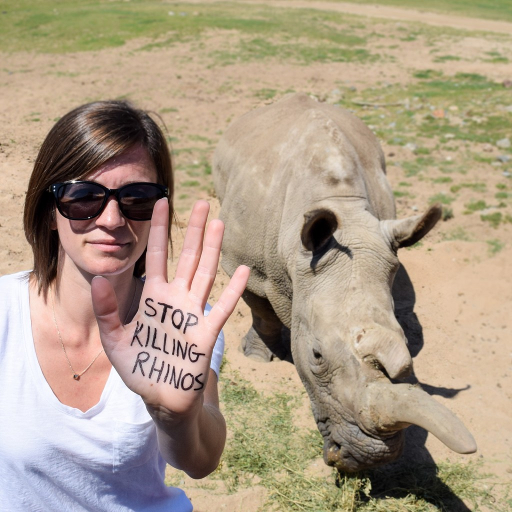 "Join the fight by writing ""Stop Killing Rhinos"" on your hand and posting a photo on Instagram or Twitter with #rally4rhinos."