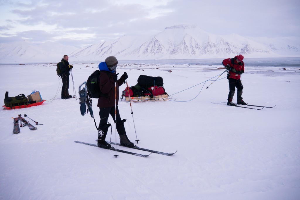 Director of Field Operations for Polar Bears International, BJ Kirschhoffer, scans the horizon on the lookout for wildlife while the rest of the crew enjoys a moment of downtime, having just finished setting up the second camera system.